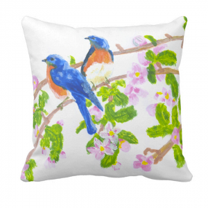 Lintuja-Throw-Pillow designed by Blondina Elms Pastel, elms The Boutique