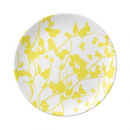 Keltainen-Valkoinen-Perhosia-Porcelain-plate designed by Blondina Elms Pastel, elms The Boutique