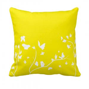 Keltainen-Valkoinen-Perhosia Throw-Pillow designed by Blondina Elms Pastel, elms The Boutique