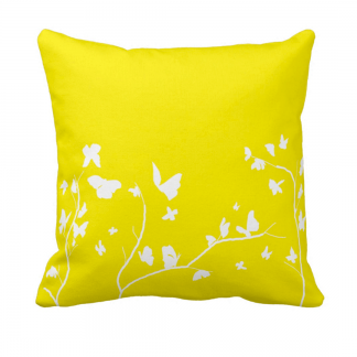 Keltainen-Valkoinen-Perhosia Throw-Pillow designed by Blondina Elms Pastel, elms The Boutique