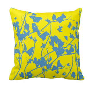 Sininen-Keltainen-PerhosiaThrow-Pillow designed by Blondina Elms Pastel, elms The Boutique