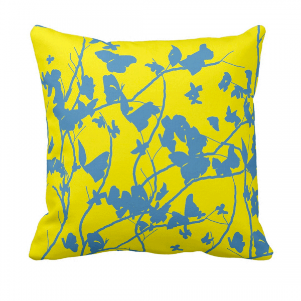 Sininen-Keltainen-PerhosiaThrow-Pillow designed by Blondina Elms Pastel, elms The Boutique
