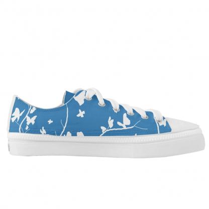 Sininen-Keltaisella-Perhosia-Low-Sneakers designed by Blondina Elms Pastel, elms The Boutique