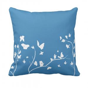 Sininen-Valkoinen-Perhosia Throw-Pillow designed by Blondina Elms Pastel, elms The Boutique