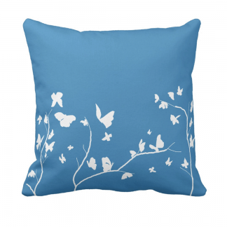 Sininen-Valkoinen-Perhosia Throw-Pillow designed by Blondina Elms Pastel, elms The Boutique