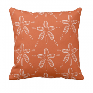 Hiekka-dollari-koralli throw_pillow designed by Blondina Elms Pastel, elms The Boutique