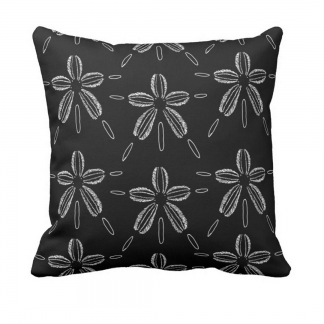 Hiekka-dollari-musta- throw_pillow designed by Blondina Elms Pastel, elms The Boutique