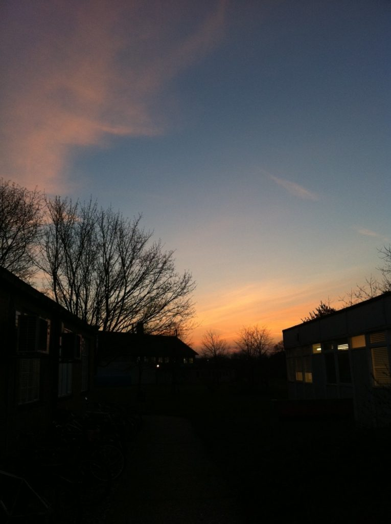 Sunset view at the Department of Typography & Graphic Communication, University of Reading